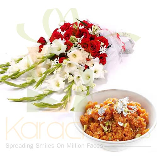 Gajar Halwa With Flowers
