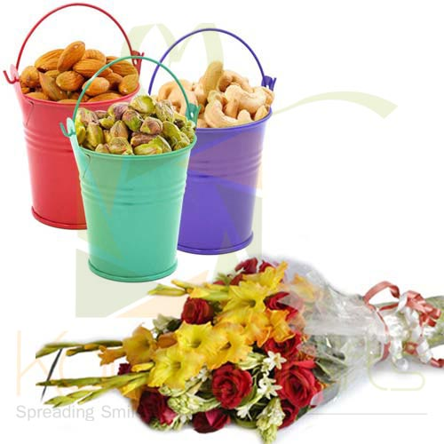 Flowers With Dry Fruit Buckets