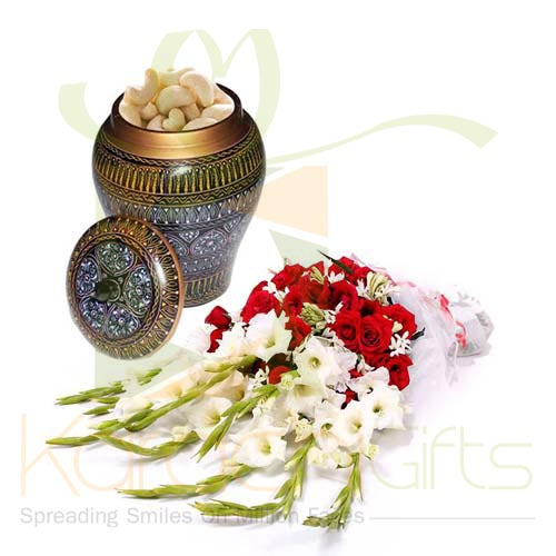 Kaju Pot With Flowers