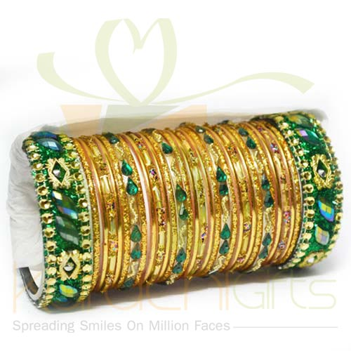 Golden And Green Choori Set